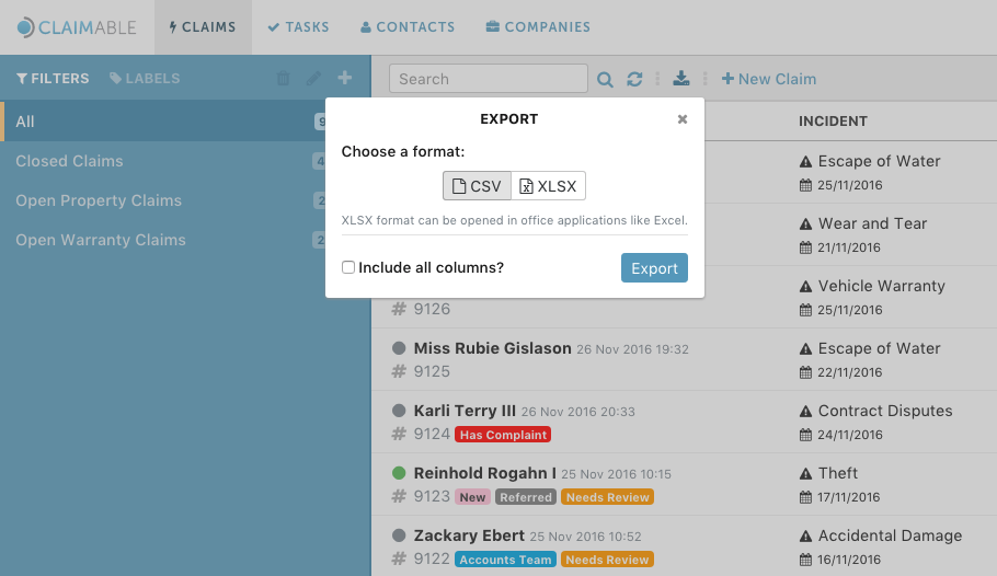 New Feature: Export your Claims!